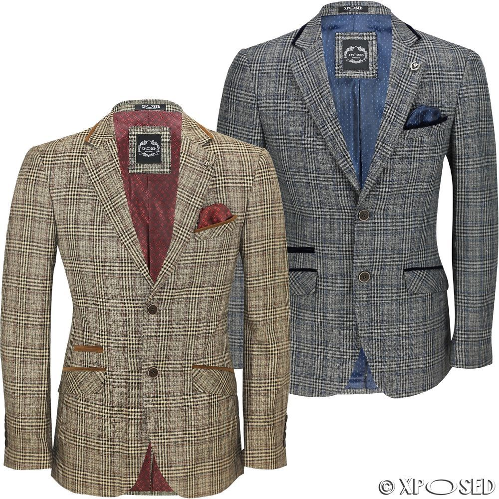 14e483db7782 Mens Vintage Tweed Herringbone Check Blazer Velvet Elbow Patch Brown Grey  Jacket