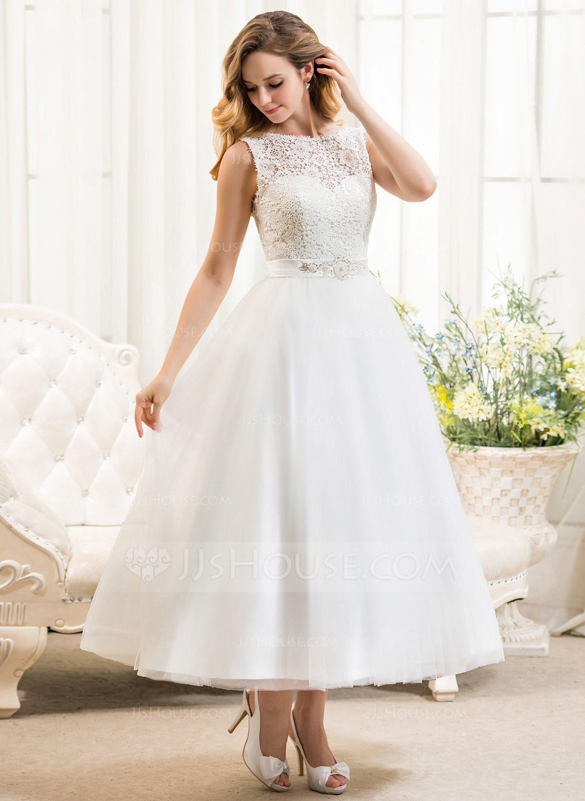 [€ 154.00] Vestido de novia de encaje de tul con escote redondo hasta la pantorrilla y lentejuelas con pedrería – JJ's House  – Boda