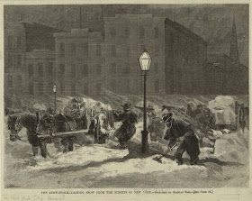 Snow Removal from the Streets of New York, c. 1888