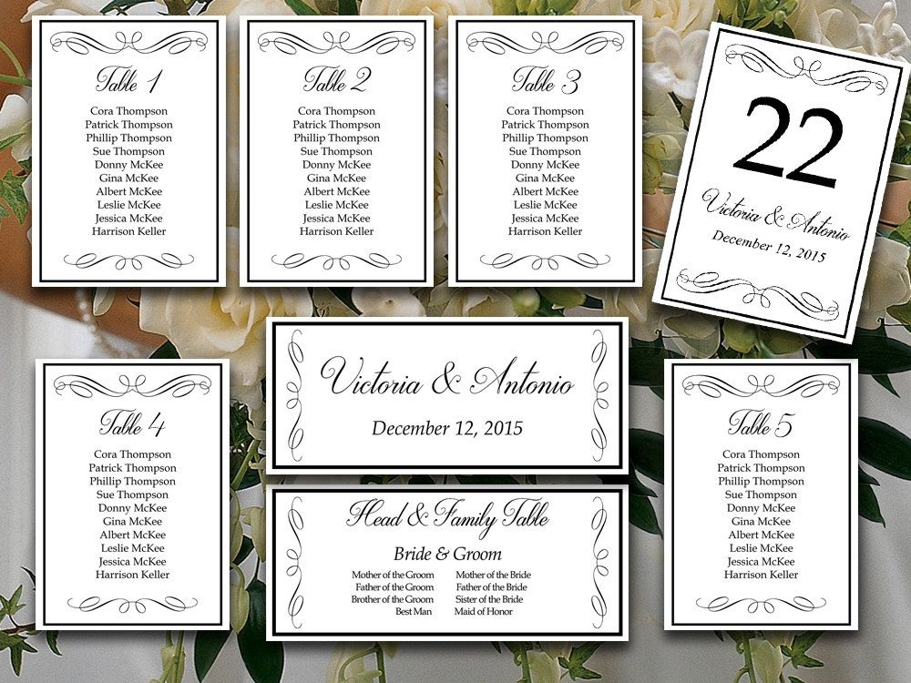 DIY Wedding Seating Chart Template - Wedding Reception Seating - number chart template