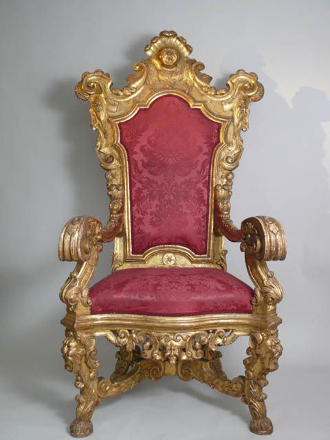 Very high back gilded italian throne chair cartouche masks for Mobilia furniture hire