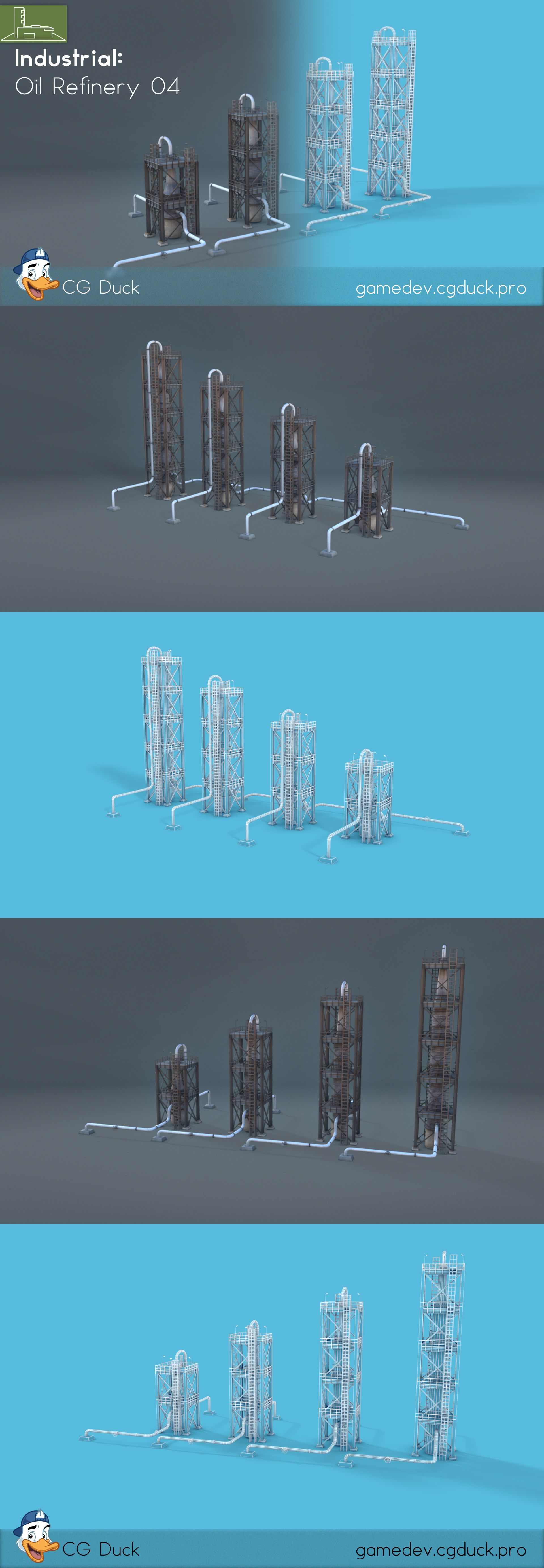Oil Refinery 04 Oil refinery, Low poly 3d models, Low