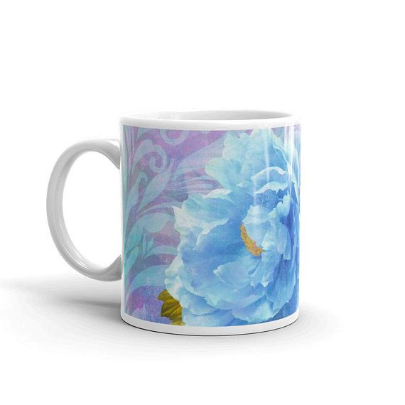 Items similar to Blue Peony Coffee Mug in two sizes - Bleu, Original Art Blue Peonies coffee cup kitchen decor - modern floral accessory bag by Glimmersmith on Etsy #bluepeonies