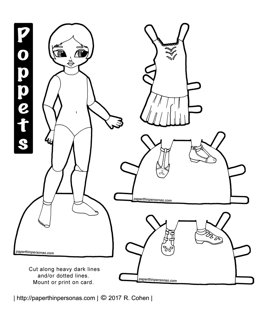A 1920s Poppet Paper Doll to Print and Play With