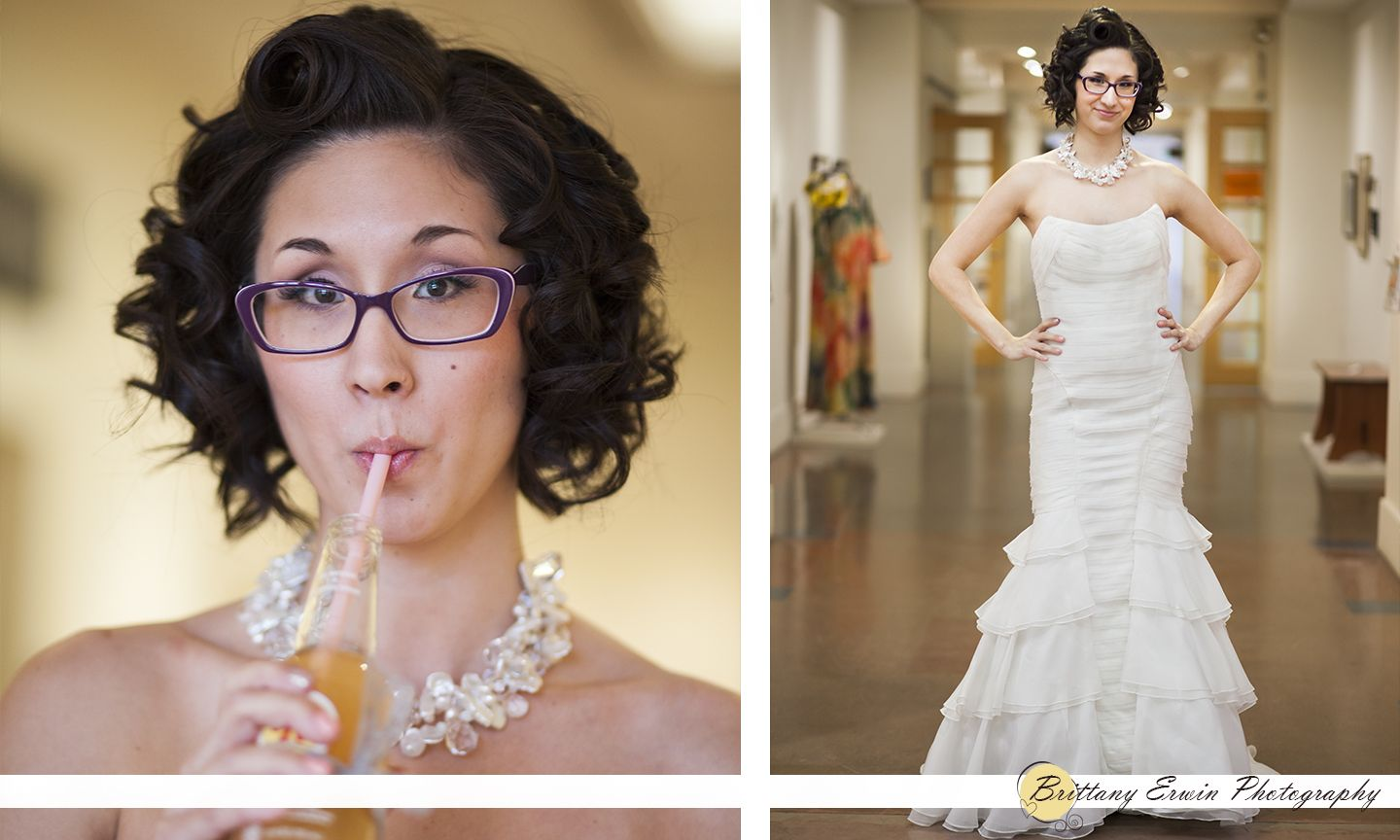 Indianapolis Art Center wedding shoot Bride with glasses