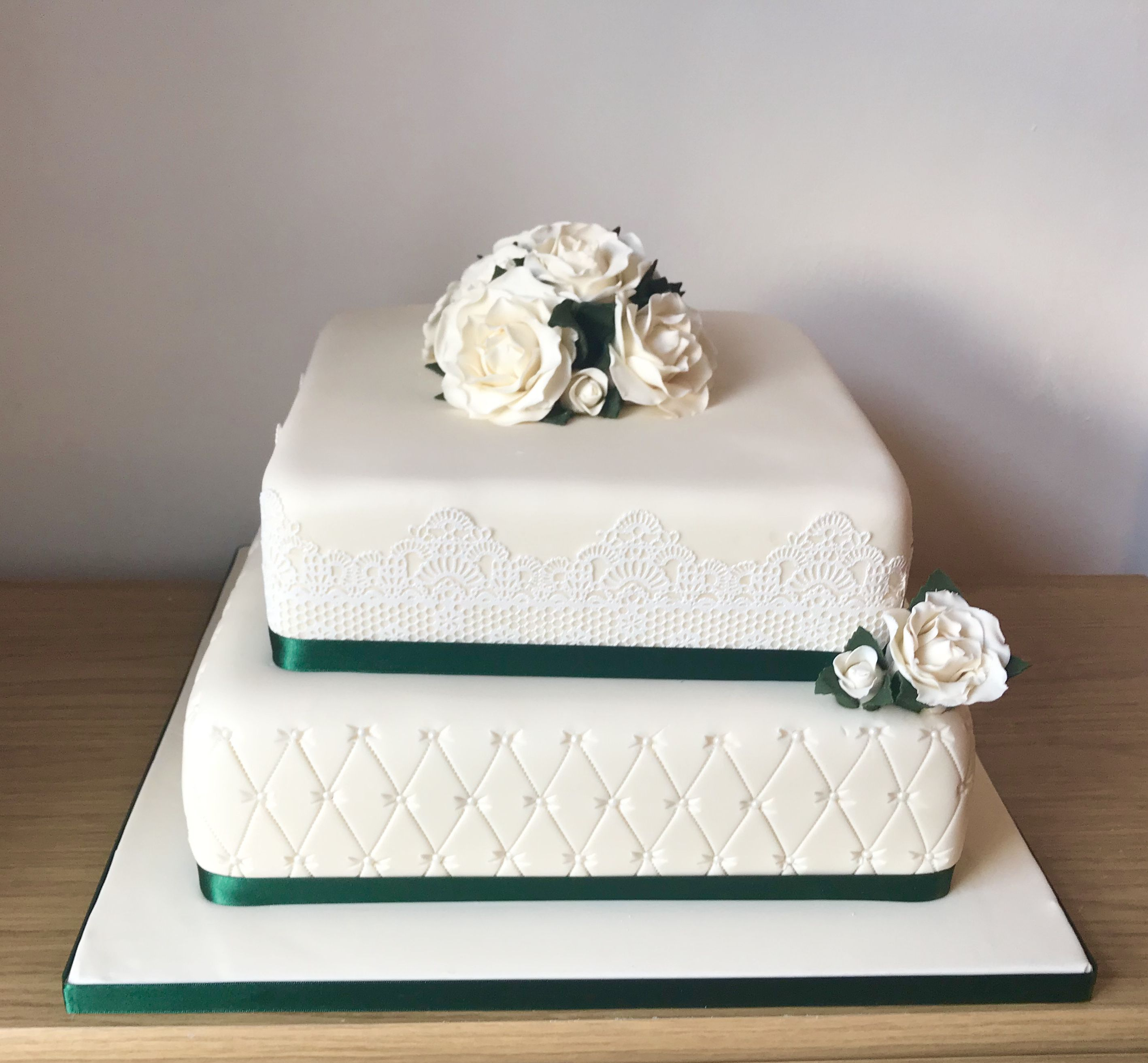Wedding cake with edible cake lace and handmade flowers | Taylormade ...