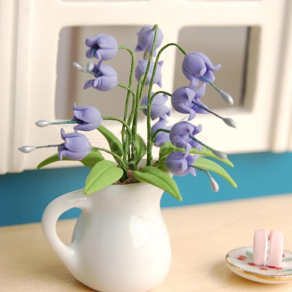 Dollhouse Miniature Plant Flower Convallaria Majalis Purple Lily With Vase Unbranded Purple Bell Flowers Miniature Plants Planting Flowers