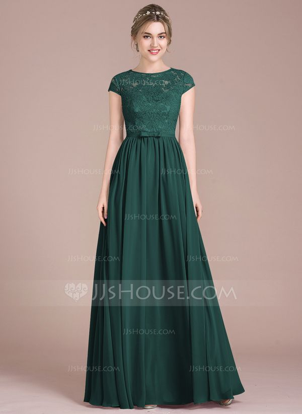 JJsHouse A-Line/Princess Scoop Neck Floor-Length Chiffon Lace Bridesmaid Dress With Bow(s) #lacebridesmaids