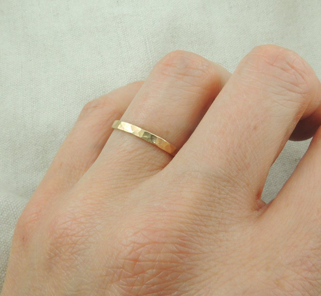 14k Yellow Gold Hammered Wedding Band 2mm Wide X 1mm Thick Point No Studio 4