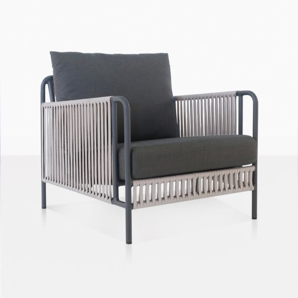 Fontana Outdoor Rope Club Chair   Patio Lounge Furniture   Teak Warehouse is part of Patio lounge furniture - The Fontana Outdoor Rope Club Chair boasts a powder coated steel frame in a swanky graphite color, which is then woven with an outdoor rope and dressed with Sunbrella® cushions   free with purchase!