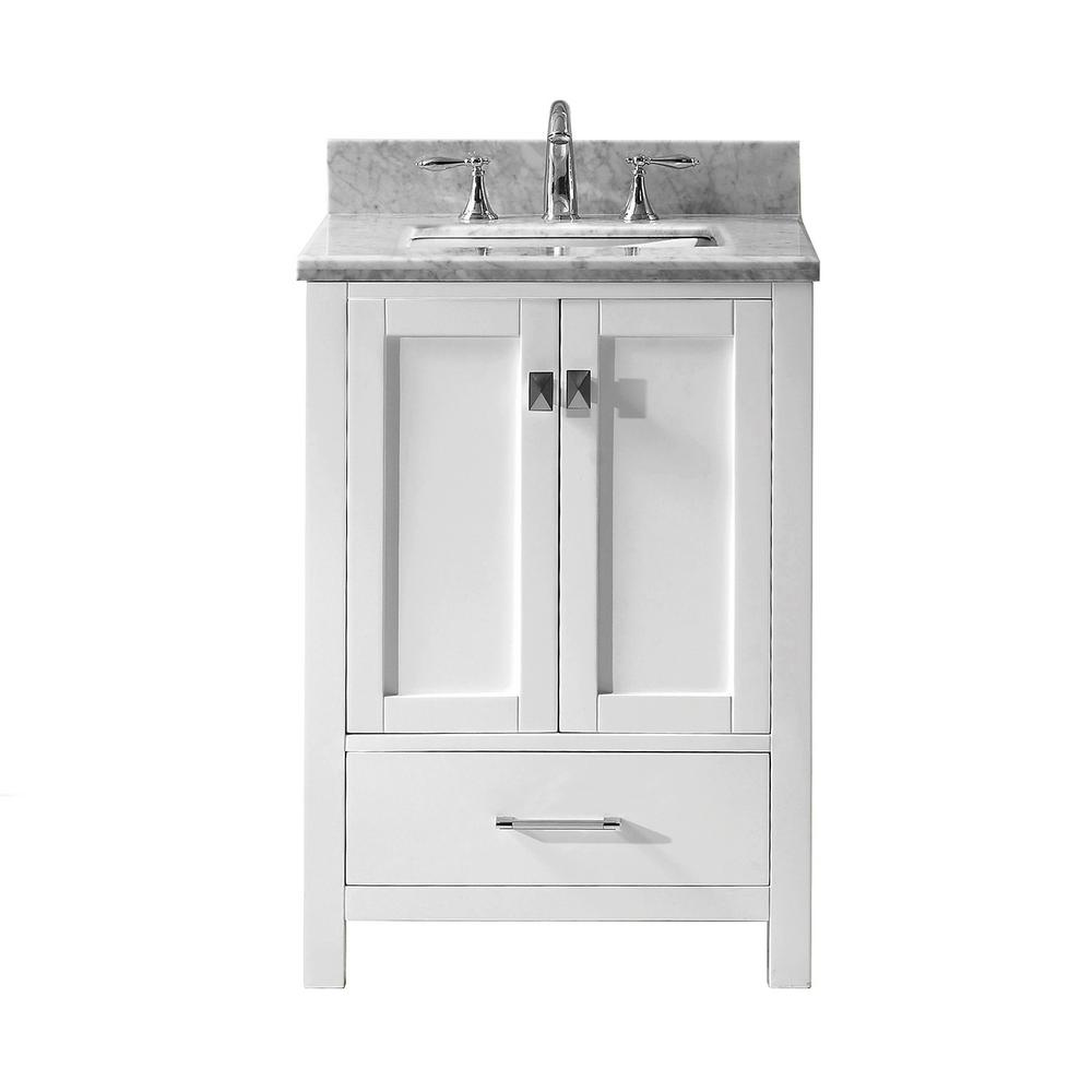 Virtu Usa Caroline Avenue 25 In W Bath Vanity In White With Marble Vanity Top In White With Square Basin Gs 50024 Wmsq Wh Nm The Home Depot Marble Vanity Tops Vanity Single Vanity 25 inch vanity top