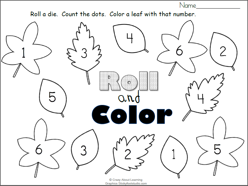 Free Fall Leaves Roll and Color Numbers Worksheet