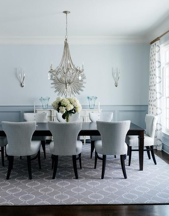 Grey And Blue Dining Room Features Pale Paint On Upper Walls Wainscoting Lower Lined With French White Sideboard Topped