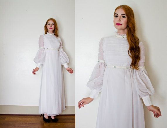 Vintage 60s Wedding Dress - White Smocked Chiffon Poet Sleeve Gown ...