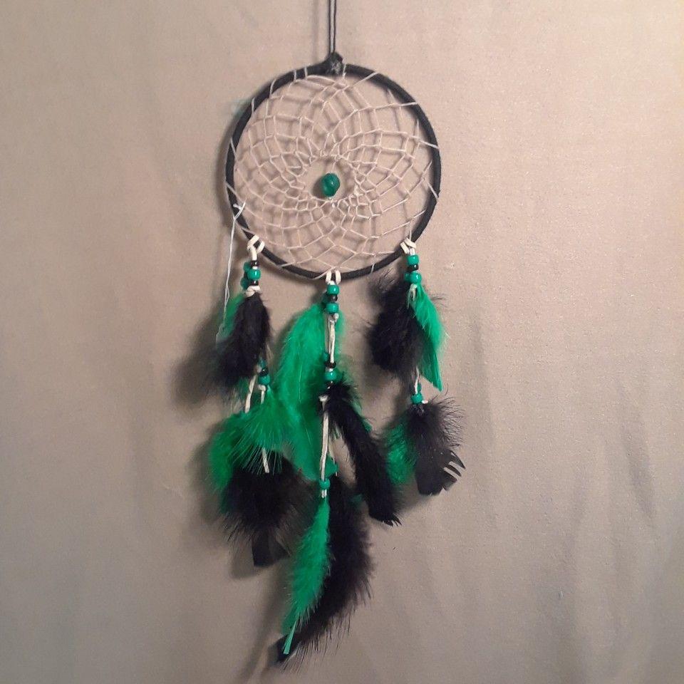 Dream Catcher Keychain Bead Design with Feathers Beads Beige Black Purple
