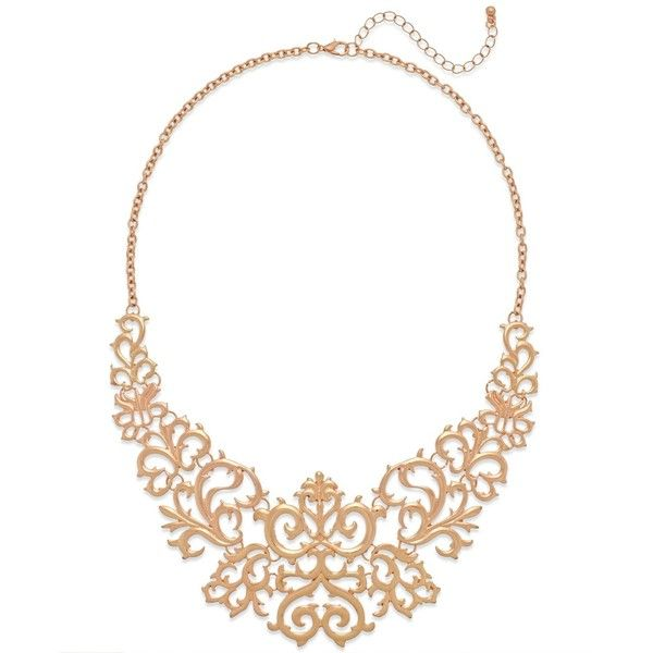 Macys Rose GoldTone Lace Bib Necklace 192420 IDR liked on
