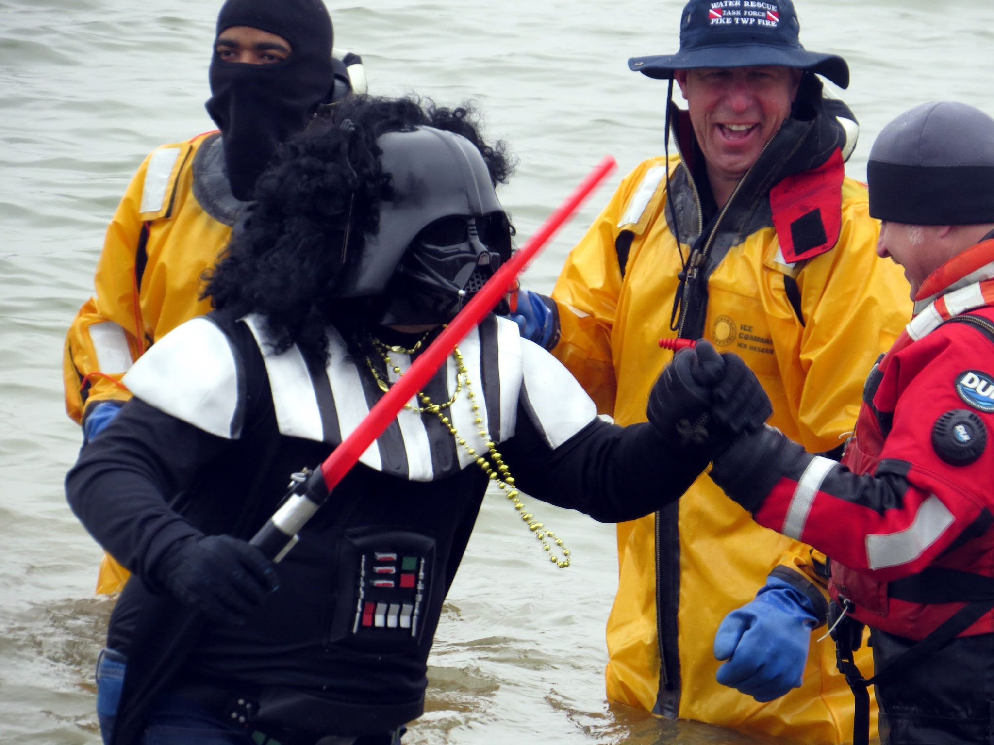 https://flic.kr/p/EmAb7v | When firemen go over to the darkside! | Shaking hands is still a game changer in bonding men even firemen and Star Wars characters doing the Polar Plunge in Eagle Creek Park, Indianapolis.