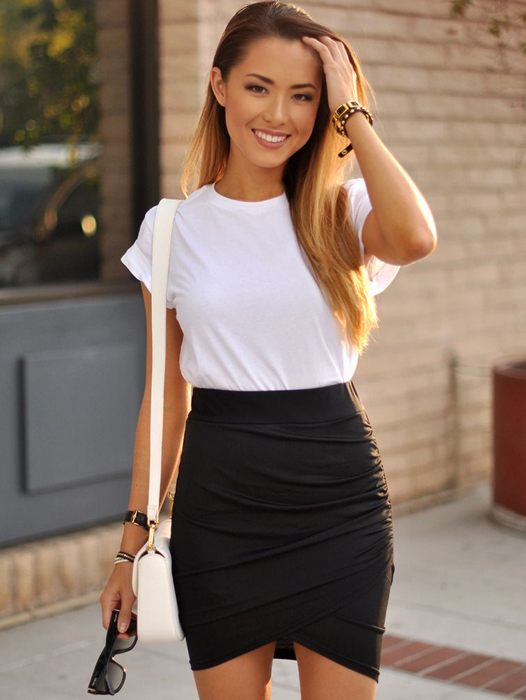 Shop Black Asymmetrical Bodycon Skirt Online Shein Offers Black Asymmetrical Bodycon Skirt More To Fit Your Fash Body Con Skirt Fashion Bodycon Skirt Outfit