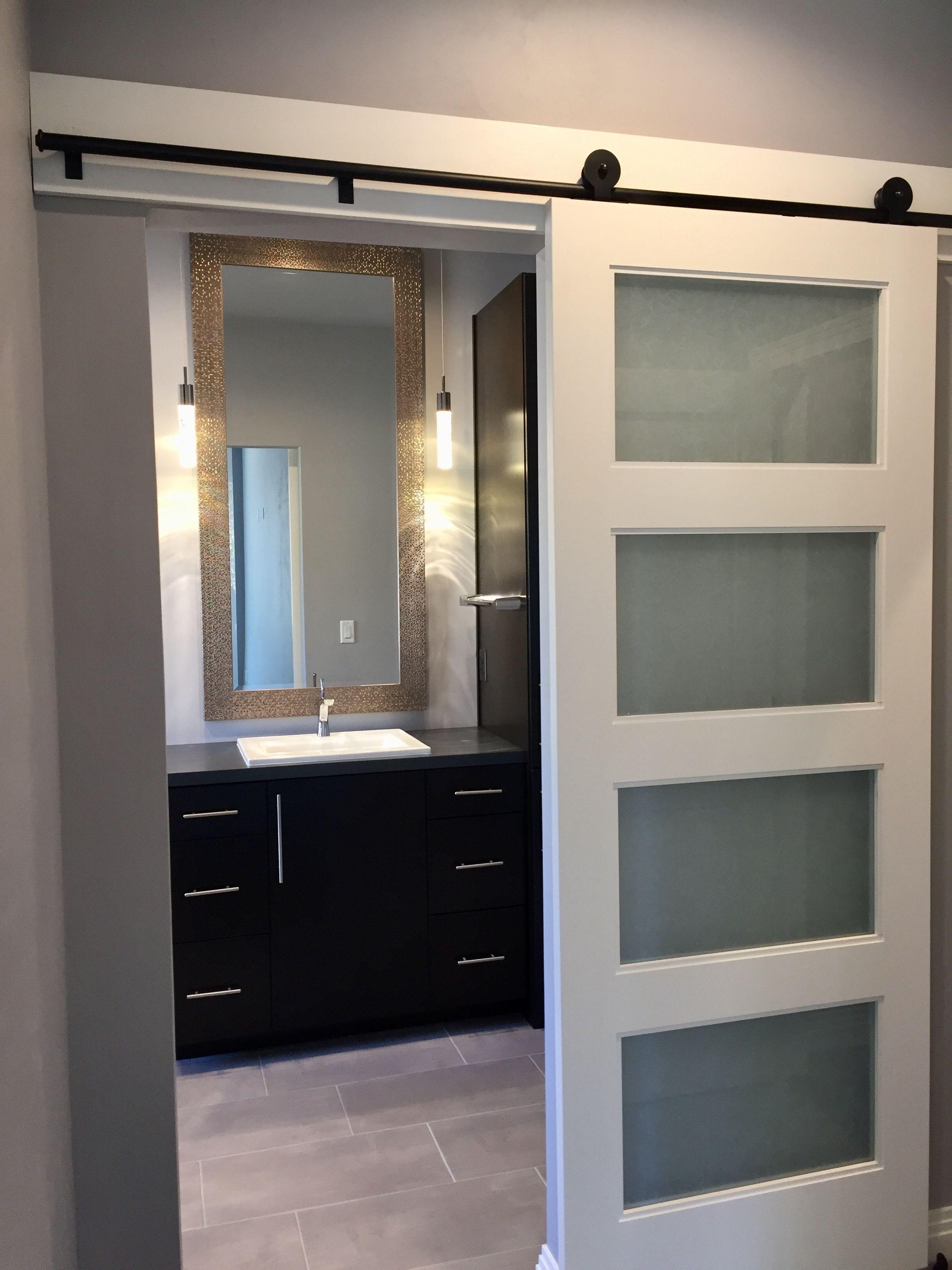 Contemporary Bathroom With A Modern Style Sliding Door Including Rice Paper Glass Panels Sleek Style Pendant Lig Bathrooms Remodel Modern Barn Door Glass Door