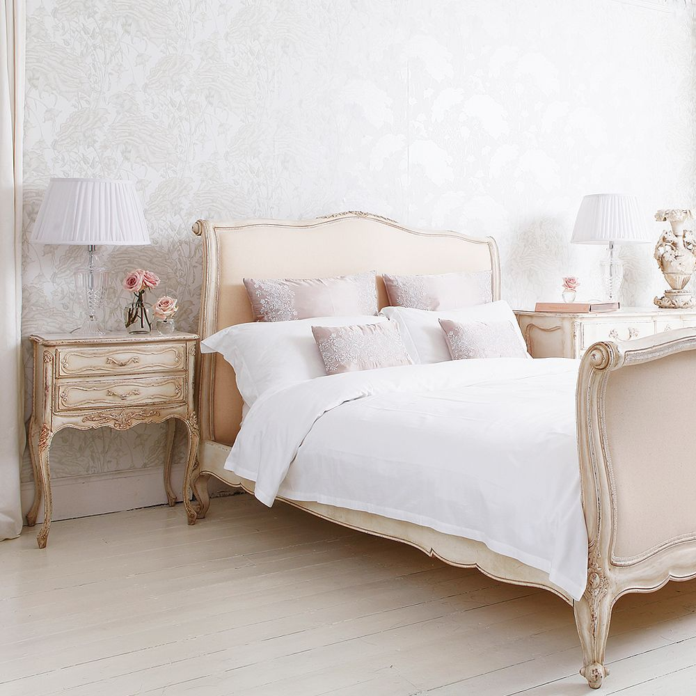 Delphine french upholstered bed king discover more for King bed decoration