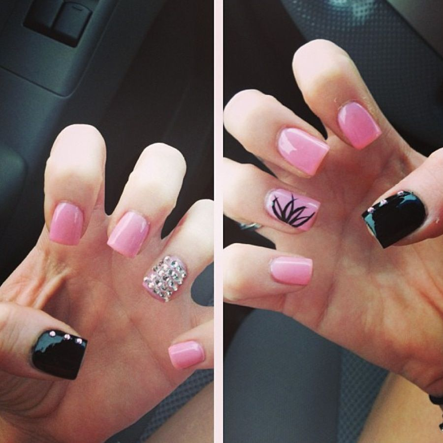 Pink acrylic nails left is my favorite nails pinterest pink and black acrylic nails prinsesfo Gallery