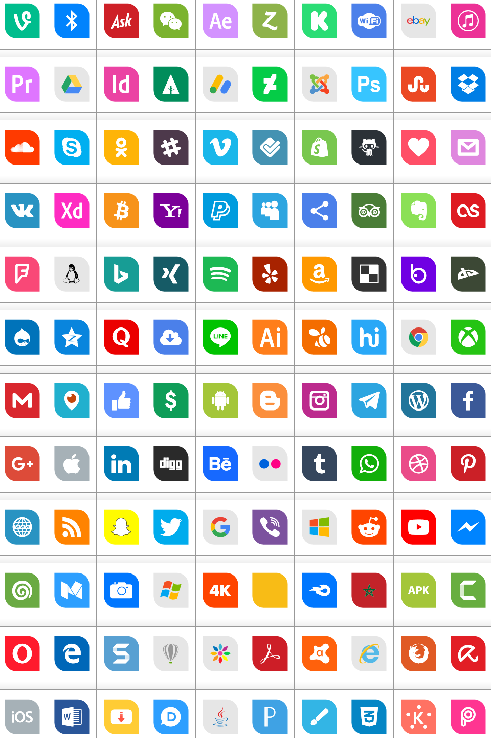 Download Font Icons Social Media 1 Color font ttf otf 120