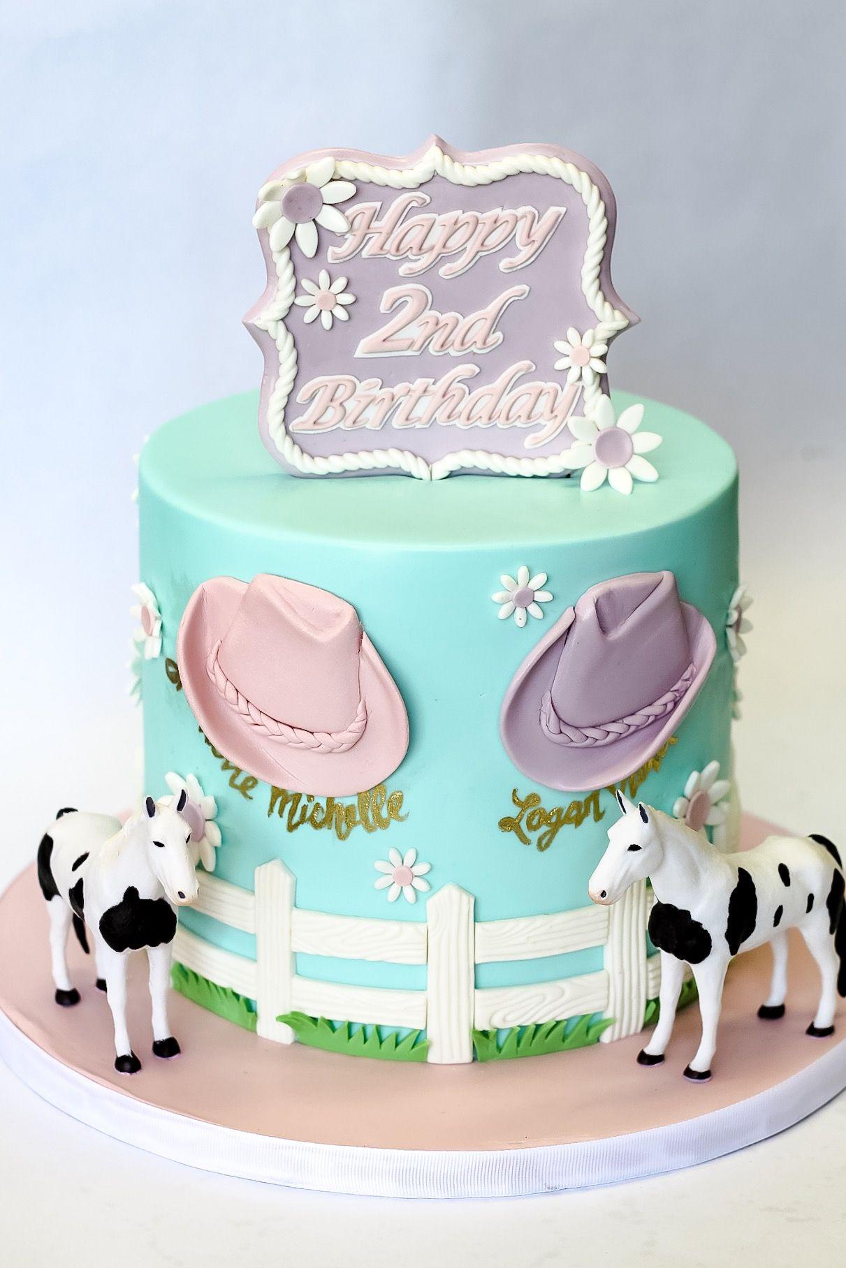 Incredible Western Themed Birthday Cake For Twin Girls Western Birthday Personalised Birthday Cards Bromeletsinfo