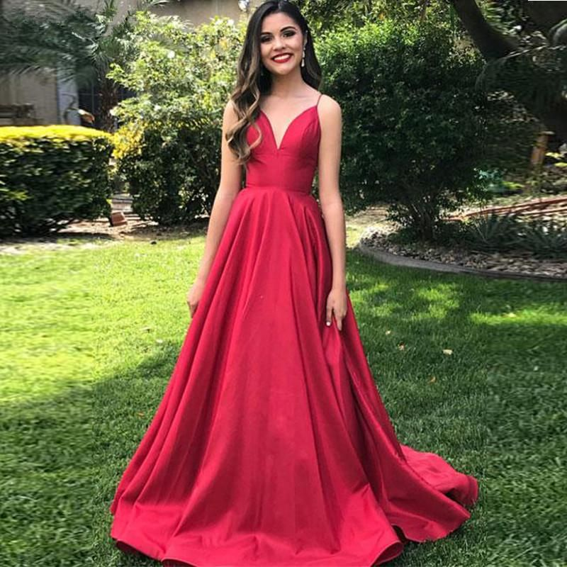 6b53985f050 Spaghetti Straps Elegant V Neck Prom Dresses Open Back Satin Red Sleeveless  Evening Dress