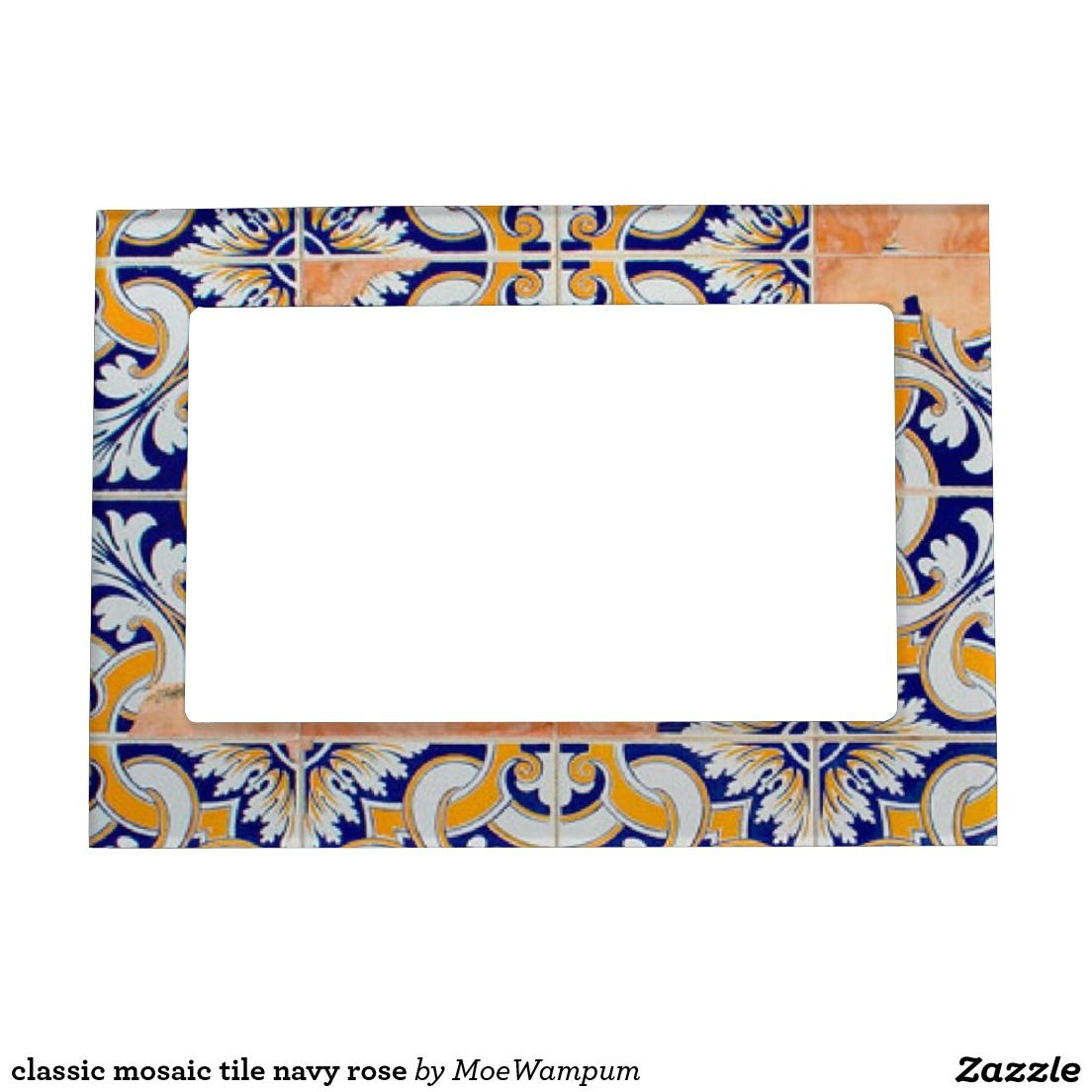 Classic mosaic tile navy rose magnetic photo frame | Magnetic photo ...