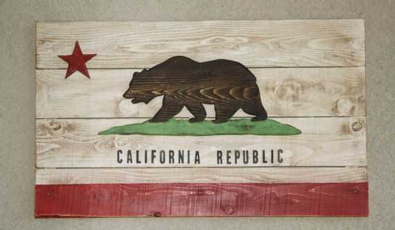 California Flag Wooden Rustic Distressed Wall Art Americana California Flag California Flag Art California Wall Art