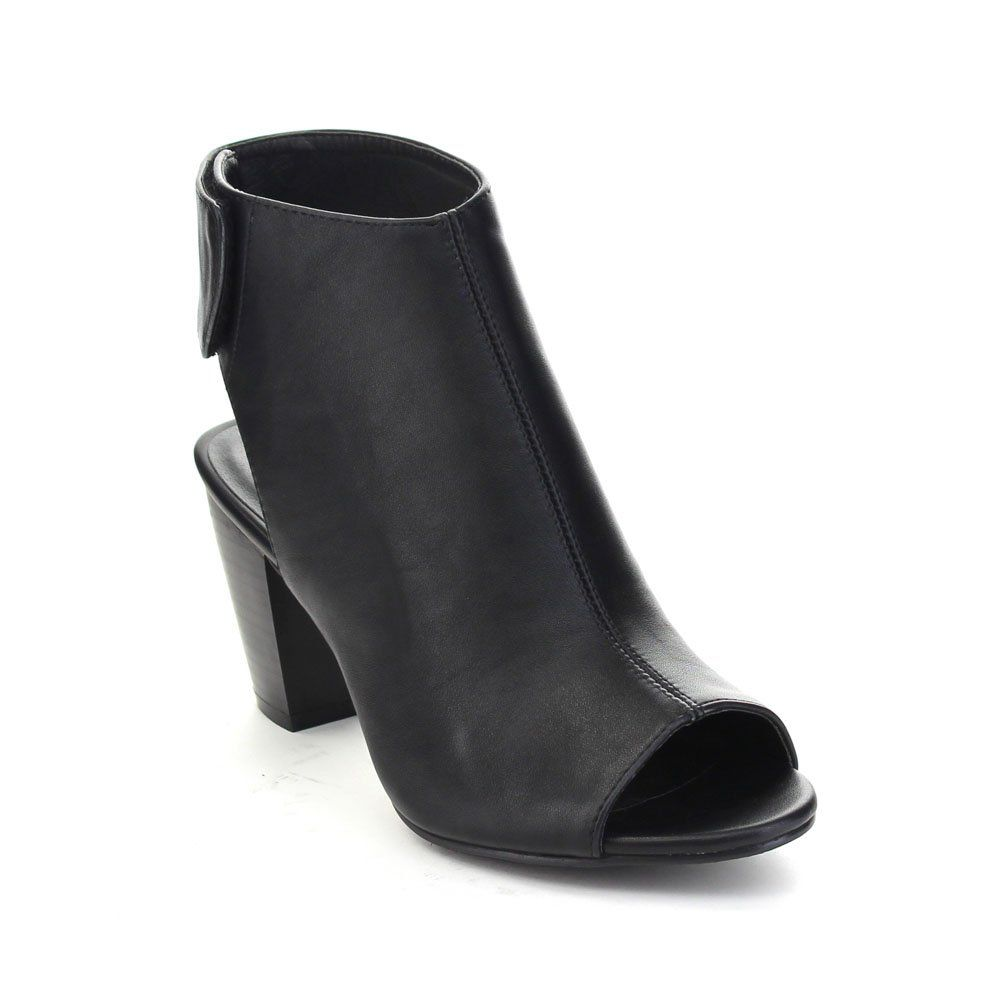 """ITALINA BD6430 Women's Stylish Stacked Chunky Heel Ankle Booties Sandals, Color:BLACK, Size:7. easy to wear closure. Heelheight measures approximately 3.25"""". stitching detail. cushioned insole. dress sandals."""