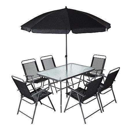 კომპლექტი ბაღის ავეჯის (მაგიდა, 6 სკამი, ქოლგა) 130x80x70