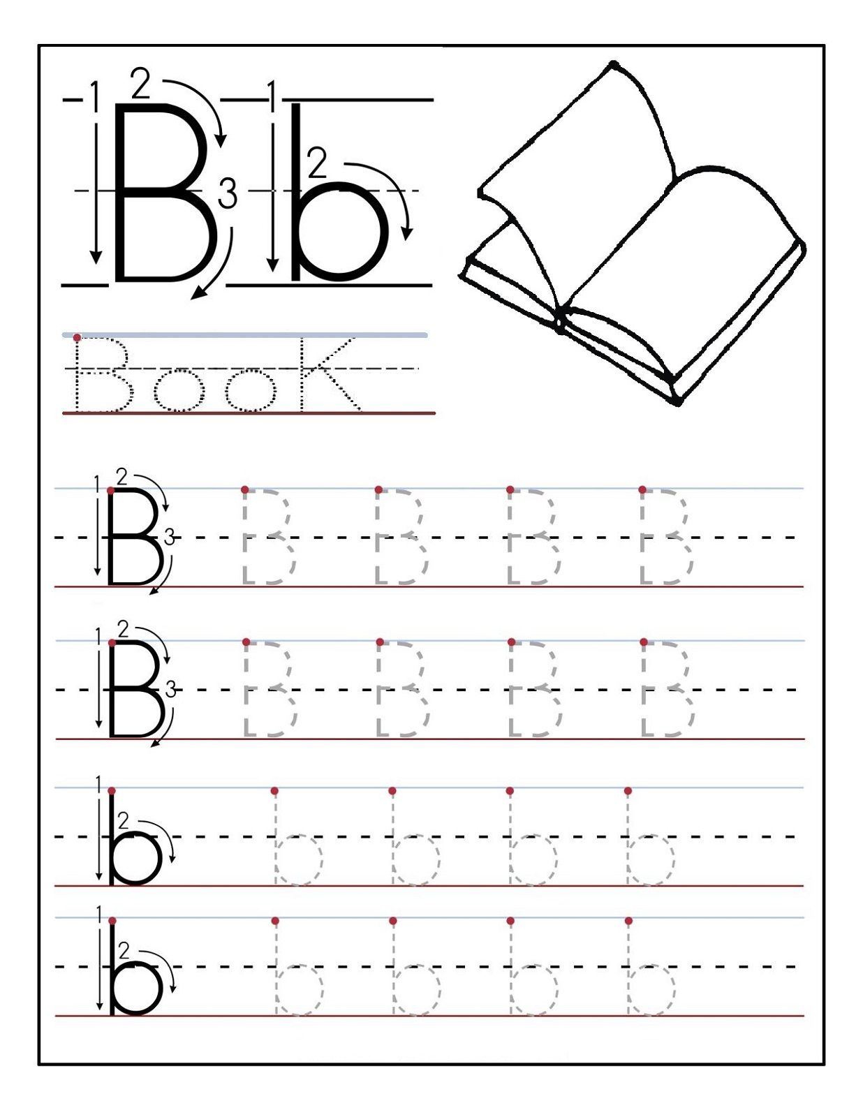 Worksheets Letter B Worksheets Preschool trace the letters book learning to write pinterest letter book