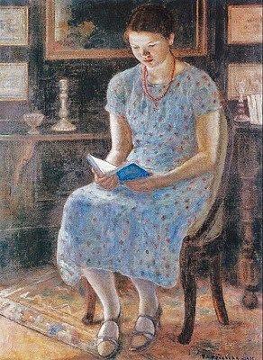 Frederick Frieseke (American artist, 1874-1939) Blue Girl Reading 1935