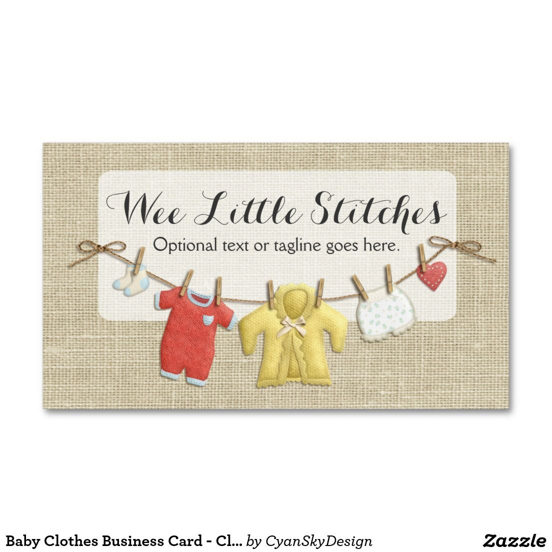 Baby Clothes Business Card Clothesline on Burlap