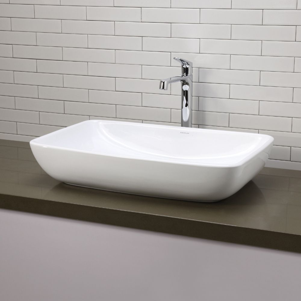 Shop decolav 1445 cwh classically redefined above counter for Vessel sink bathroom ideas