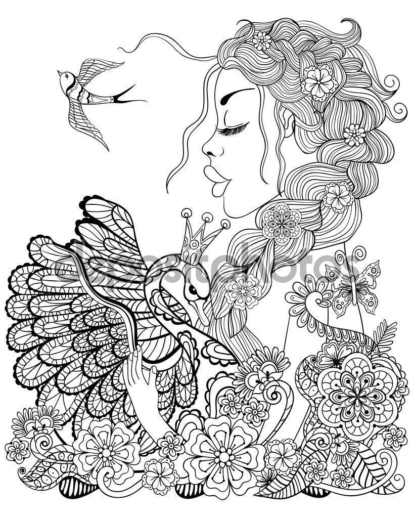 Forest fairy with wreath on head hugging swan in flower for anti ...