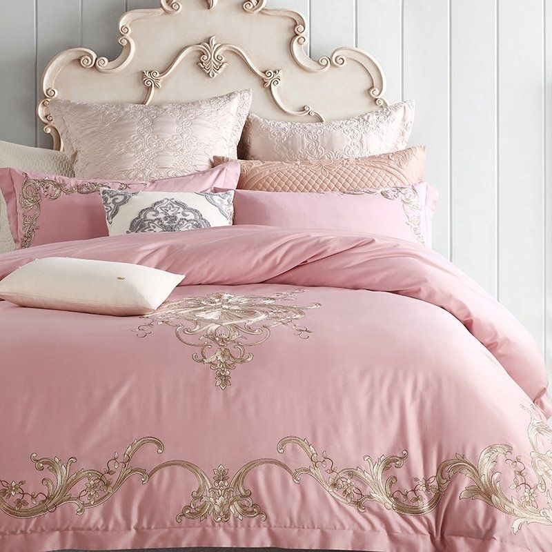 Luxury Glam Pale Pink And Gold Victorian Pattern Full Queen Size Bedding Bedspread Bedroom Sets Bed Linens Luxury Bedding Sets Duvet Cover Master Bedroom