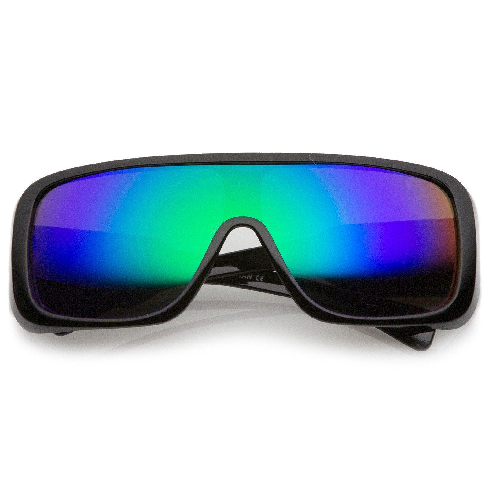 Menus oversize goggle colored mirror mono lens shield sunglasses