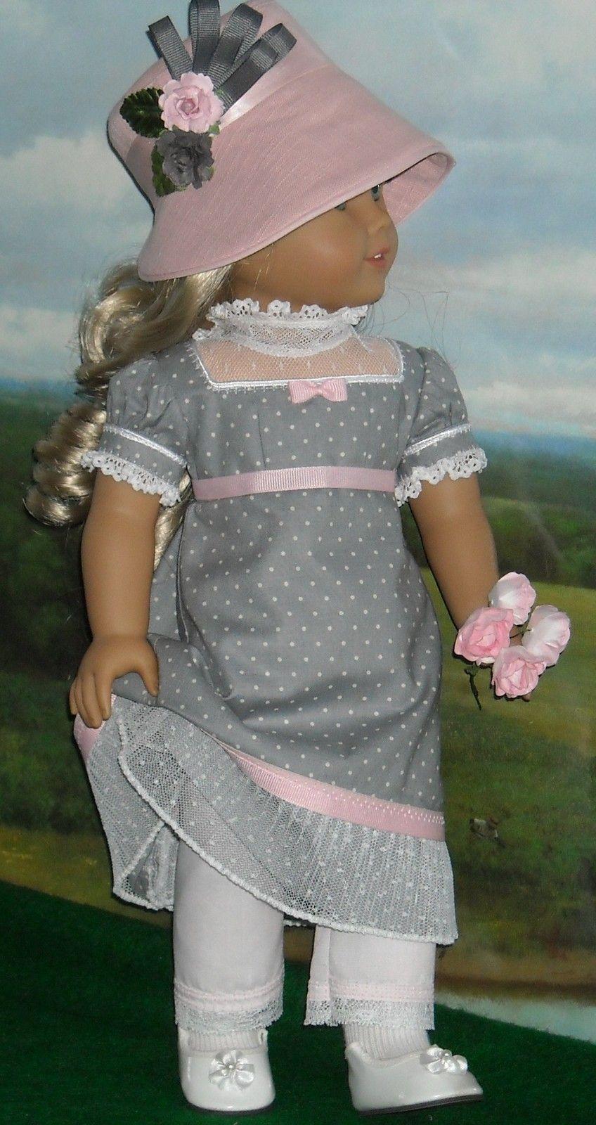 1812 Gray w Pink Dress Hat by KMK Fits American Girls Like Caroline | eBay