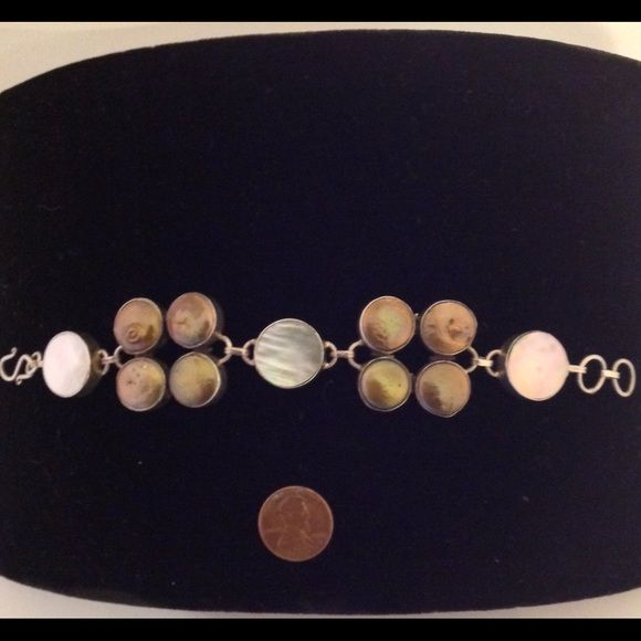 Cristo Gems & Jewelry Mother of Pearl and Golden Shell Bracelet  Sterling Silver Jewelry Bracelets