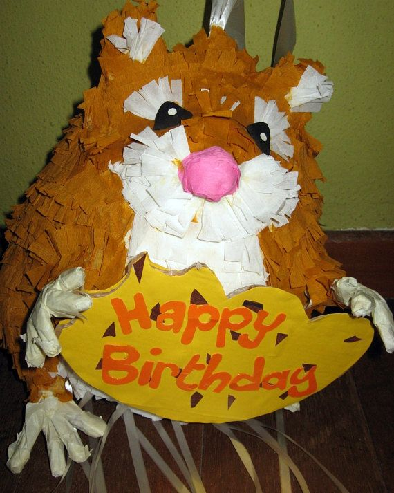 Birthday party Pinata Hamster - pull string pinata | Party Time ...