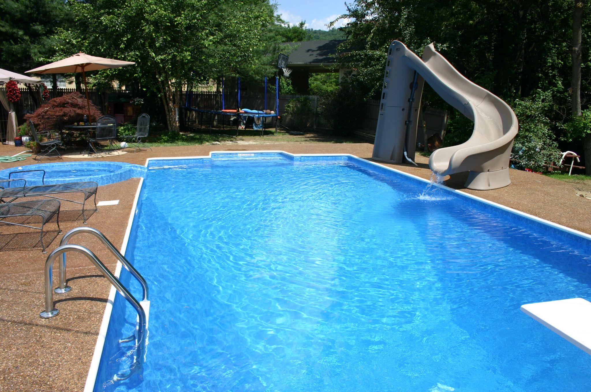 Pool Complete With Slide And Diving Board Pools Backyard Inground Backyard Pool Diving Board