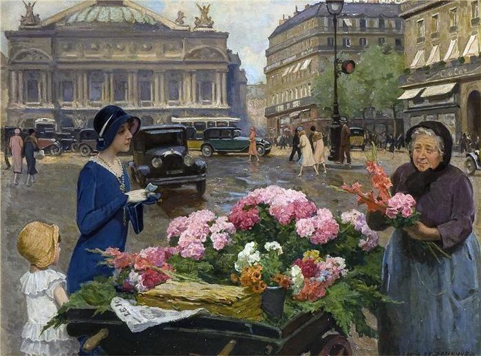 Louis Marie de Schryver  Flower seller at the Place de l'Opera, Paris