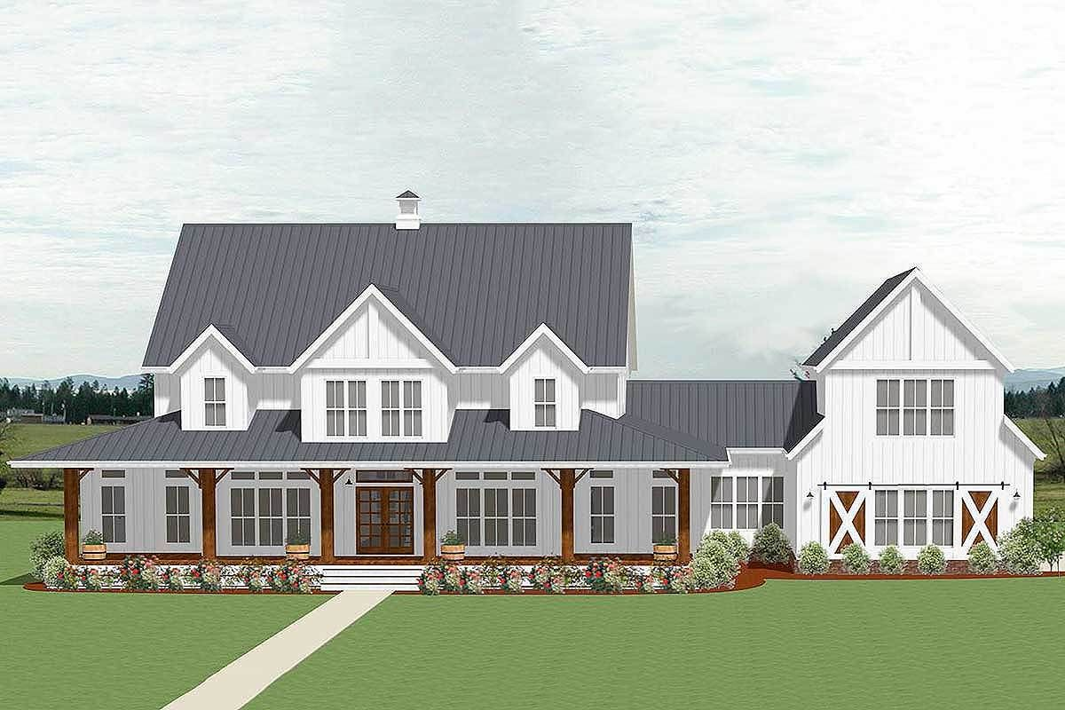 Plan 46354la 5 Bedroom Farmhouse Plan With Optional Garage Loft House Plans Farmhouse Farmhouse House Modern Farmhouse Plans