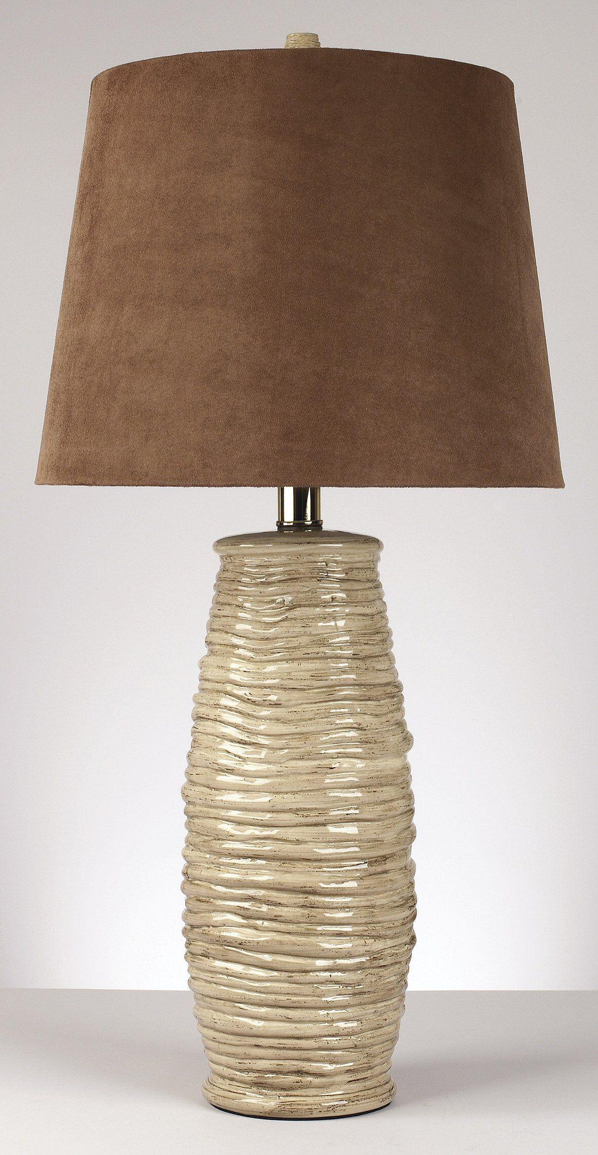 0 000498 30 H Haldis Set Of 2 Table Lamps Textured Beige Ceramic