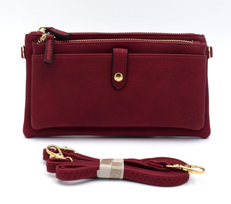 94f4b510cc Sac à main femme - pochette couleur bordeaux à bandoulière amovible et  réglable