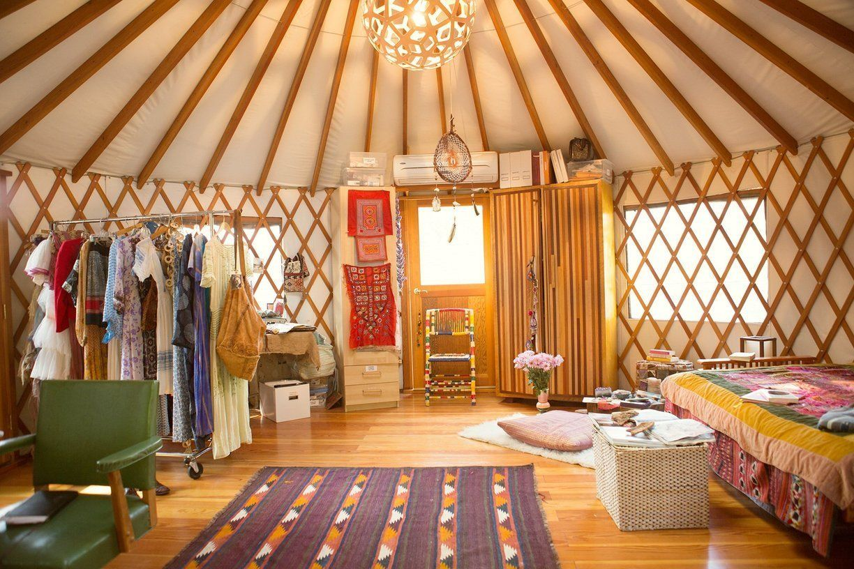 erin and nathan s boho backyard dream office in a yurt cozy livin rh pinterest com