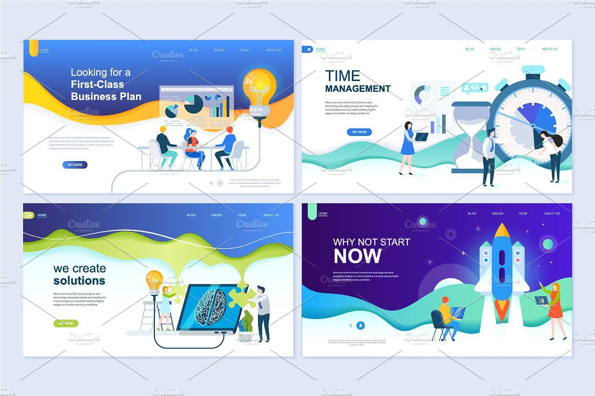 Flat Design Landing Page Templates With Images Modern Business