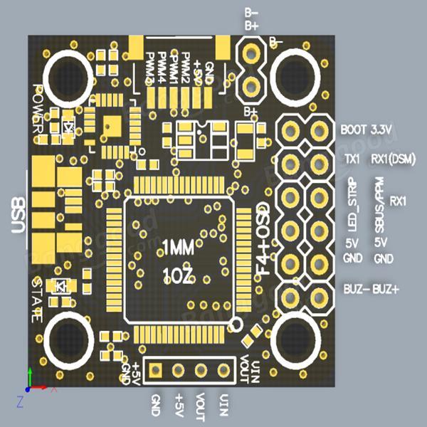 Micro 20x20mm Betaflight Omnibus STM32F4 F4 Flight Controller Built